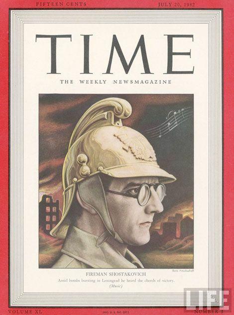Capa de revista Time. O mundo curvou-se ante a Sétima Sinfonia de Shostakovich.