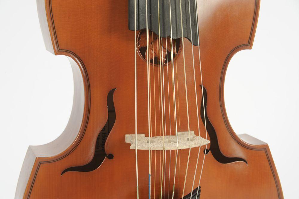 Em primeiro plano, as sete cordas principais da viola d'amore, que são tocadas com o arco. Sob elas, as sete cordas que ressoam por simpatia.