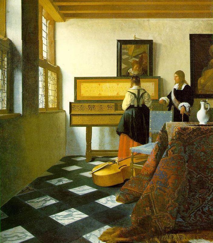"""Aprendi que, nos quadros de Vermeer, o virginal (instrumento de teclado) representa a mulher, e a viola da gamba (normalmente atirada no chão), o homem. A paixão seria representada pela música tocada no virginal causando ressonância por simpatia nas cordas da gamba - a voz de uma mulher, enfim, tocando as fibras do coração de um homem. Johannes Vermeer van Delft, """"A Lição de Música"""" (1692-1695)."""