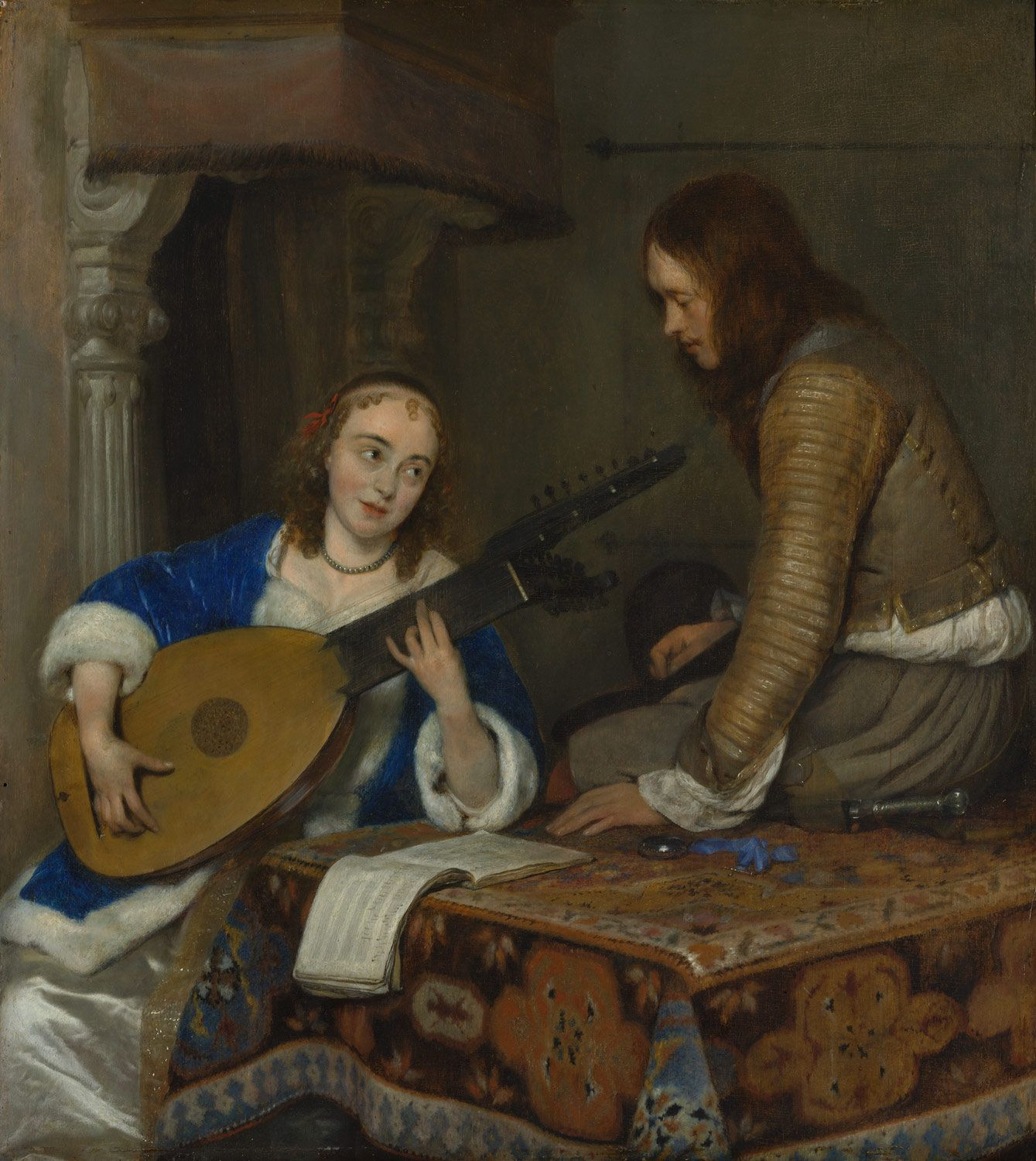 A Woman Playing the Theorbo-Lute and a Cavalier | Gerard ter Borch the Younger