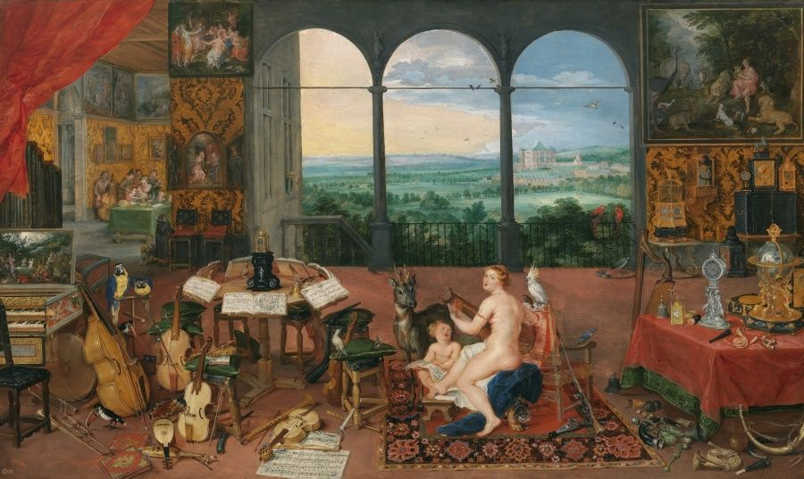 """Alegoria da Audição. Autores: Jan Brueghel """"O Velho"""" (1568-1625) e Peter Paul Rubens (1577-1640). Ano: 1617."""
