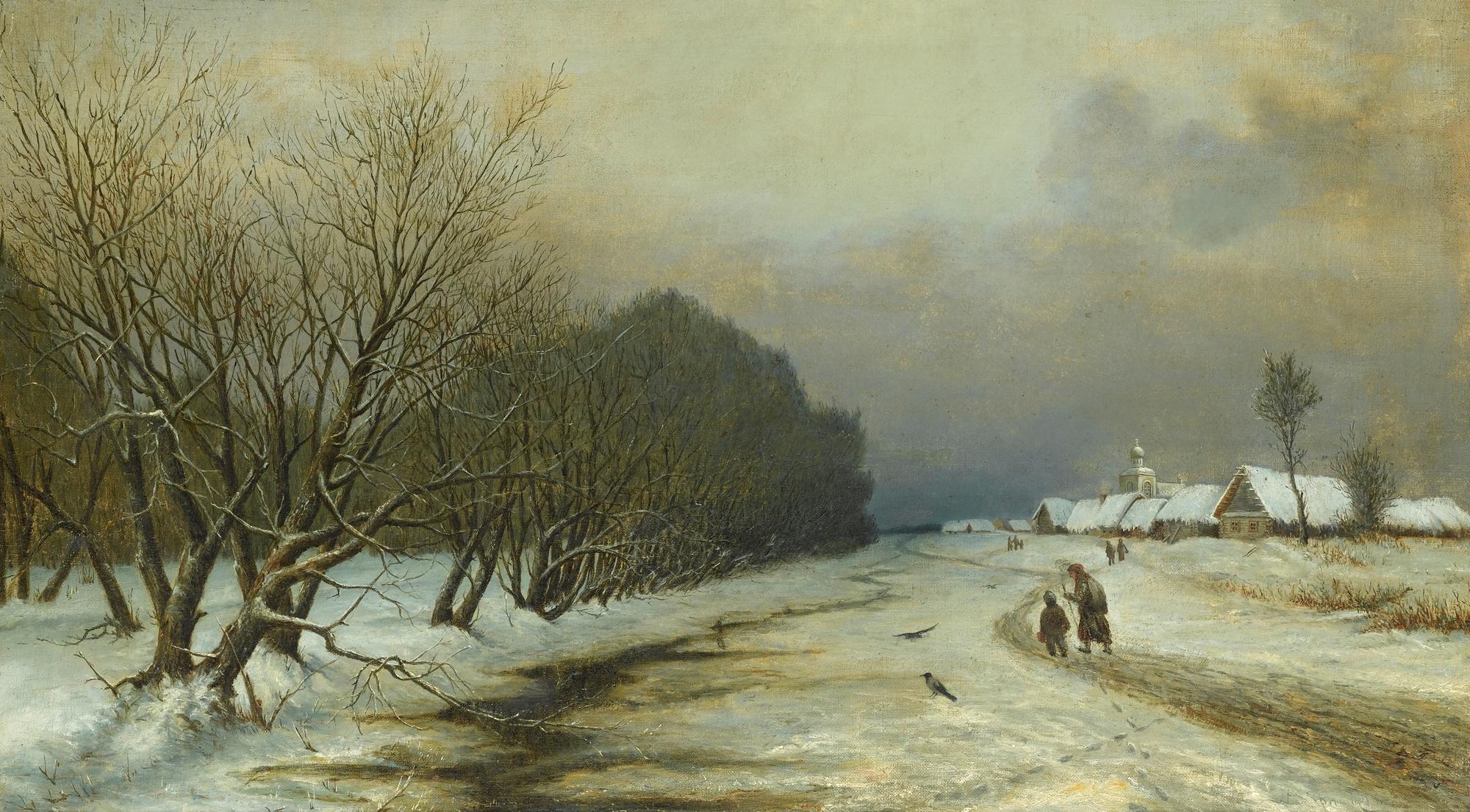 19th century landscape paintings | Gradovsky (Russian, 19th Century) - A Winter Landscape