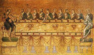 Última Ceia. Judas pega a própria comida na mesa, os outros recebem. (mosaico, séculos 12-13, San Marco, Veneza)