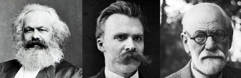 """Marx, Nietzsche e Freud, conhecidos como os """"filósofos da desconfiança"""" por """"desconfiarem"""" da modernidade burguesa."""